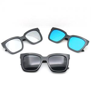 High quality acetate CE UV400 blue mirrored lens oversized  sunglasses square  for women