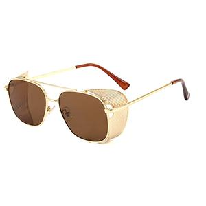 Gold metal steampunk vintage cat 3 uv400 retro sunglasses