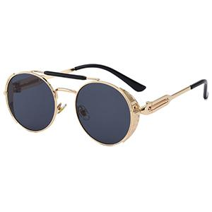 Steampunk round sunglasses with size shields