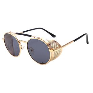 Metal steampunk round sunglasses with metal shields